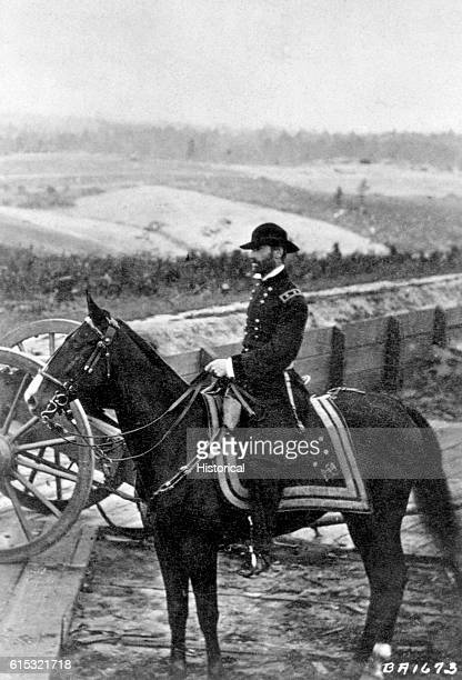 Portrait of General William Tecumseh Sherman a distinguished Federal officer during the American Civil War astride one of his horses