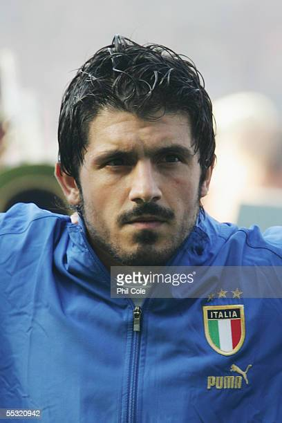 A portrait of Gennaro Gattuso of Italy prior to the Group Five FIFA World Cup Qualifying match between Scotland and Italy at Hampden Park Stadium on...