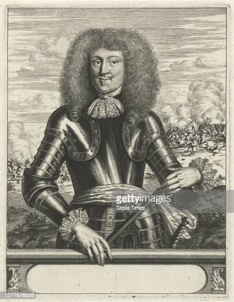 Portrait of Georg Friedrich Prince of WaldeckEisenberg dressed in armor He is holding a command staff in his hands A battle is shown in the...