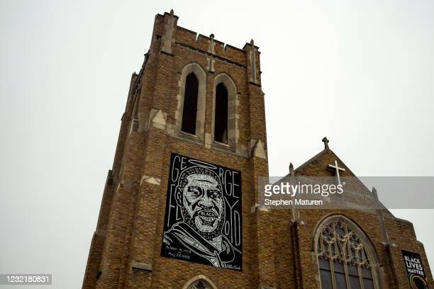 Portrait of George Floyd hangs on the exterior of Calvary Lutheran Church on April 8, 2021 in Minneapolis, Minnesota. The Derek Chauvin murder trial...