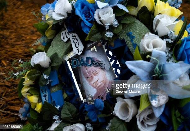 Portrait of George Floyd sits in a ring of flowers at the memorial site known as George Floyd Square on April 8, 2021 in Minneapolis, Minnesota. The...