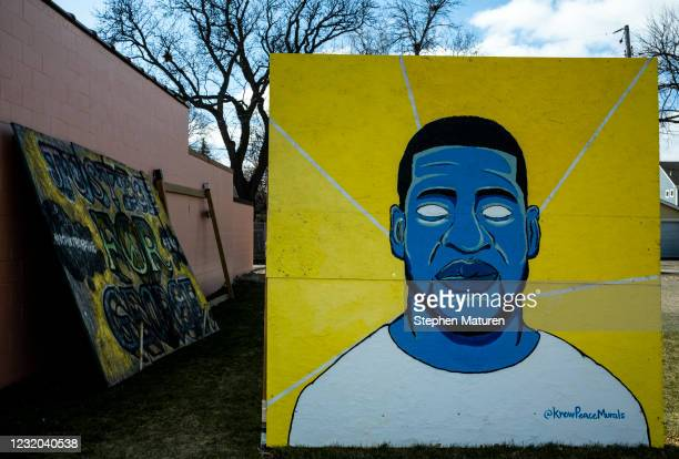 Portrait of George Floyd stands outside Dogwood Coffee on March 31, 2021 in Minneapolis, Minnesota. The trial of former Minneapolis police officer...