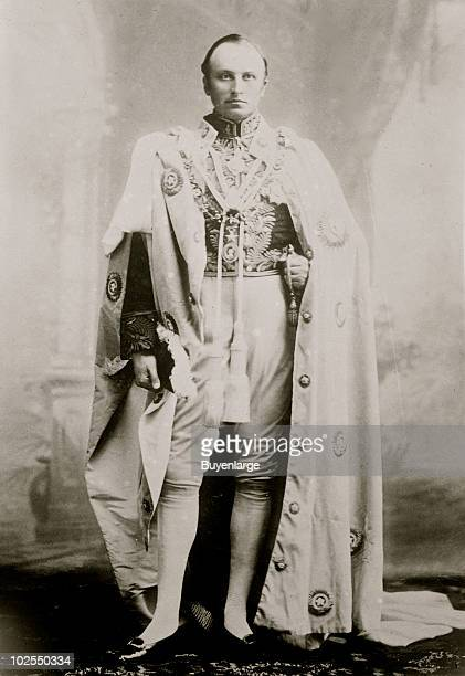 Portrait of George Nathaniel Curzon 1st Marquis statesman Governor General of India dressed in his robes as Viceroy of India ca1905