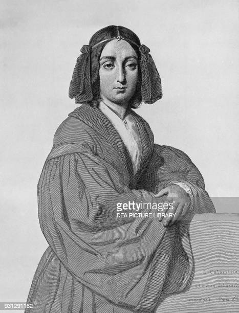 Portrait of George Sand French novelist engraving by Luigi Calamatta 1840