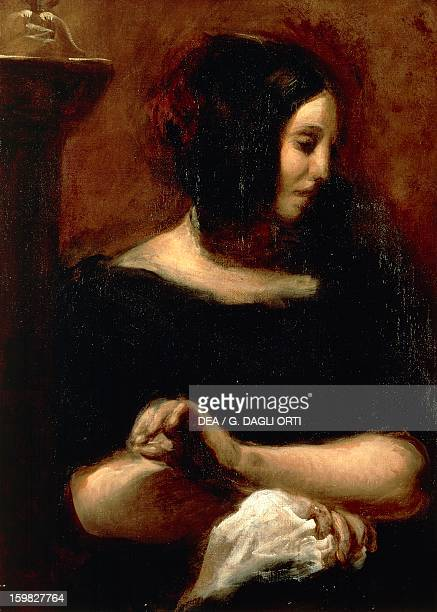 Portrait of George Sand pseudonym of AmantineLucileAurore Dupin French writer Painted in 1838 by Eugene Delacroix oil on canvas 79x57 cm Paris...