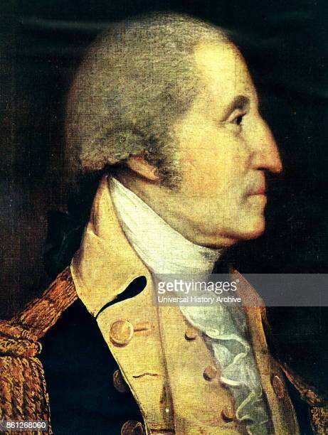 Portrait of George Washington an American politician soldier and the first President of the United States of America Painted by Benjamin West Dated...