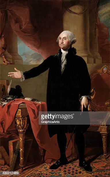 Portrait of George Washington at age 64 renouncing his third term as president, by Gilbert Stuart , 1779. This is a second version of Stuart's iconic...