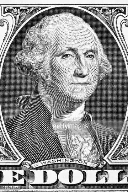 Portrait of George Washington on a US one dollar banknote