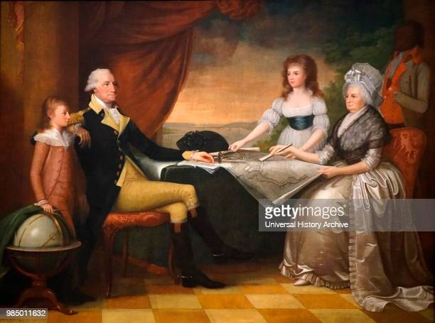 Portrait of George Washington the 1st President of the United States of America with his family Painted by Edward Savage an American painter and...