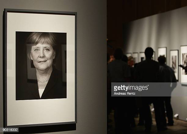 A portrait of German Chancellor Angela Merkel is pictured at the opening of 'The Chancellors' exhibition on September 3 2009 in Berlin Germany...