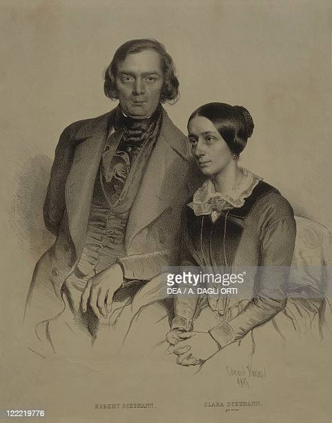 Portrait of German composer pianist and music critic Robert Alexander Schumann with his wife Clara Josephine Wieck Schumann German pianist and...
