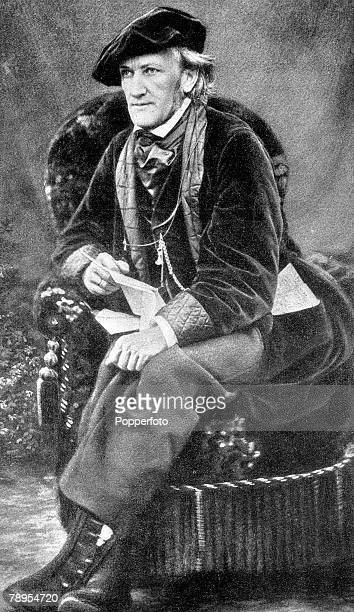 Portrait of German composer Richard Wagner 1813 1883 seated wearing cap and large cravat