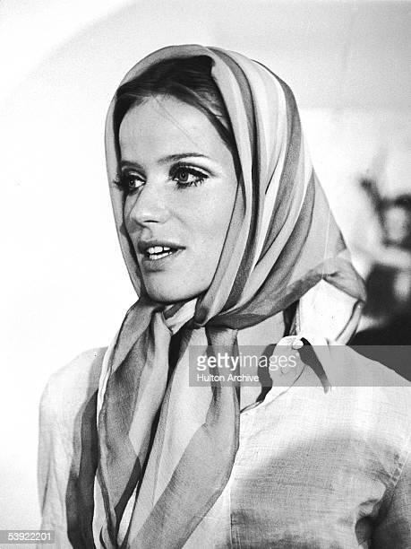 Portrait of German countess and fashion model Veruschka wearing a headscarf Rio de Janeiro Brazil September 1967