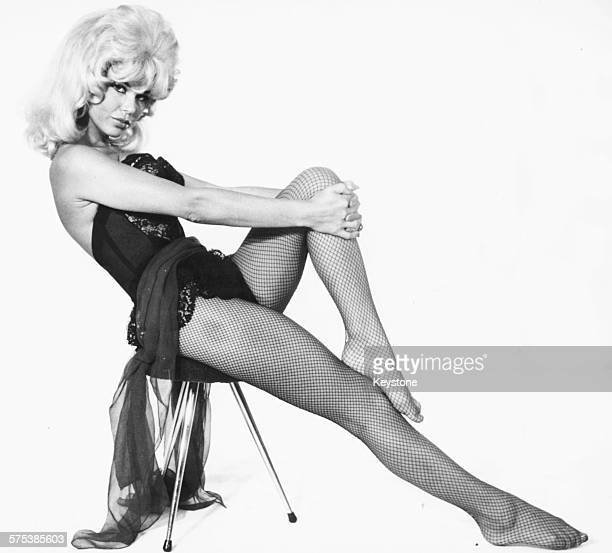 Portrait of German dancer and actress Laya Raki wearing a revealing outfit and fishnet stockings August 29th 1961