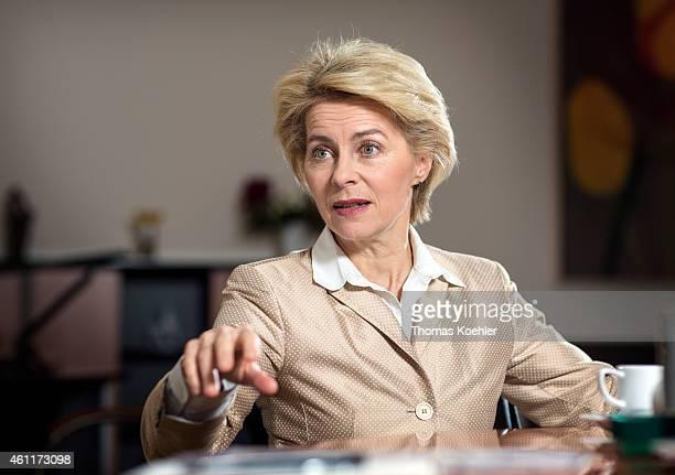 Portrait of German Federal Defence Minister Ursula von der Leyen member of the Christian Democratic Union CDU during an interview on December 04 2014...