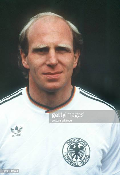 Portrait of German football player Dieter Hoeness wearing the national shirt during the 1986 FIFA World Cup in Mexico