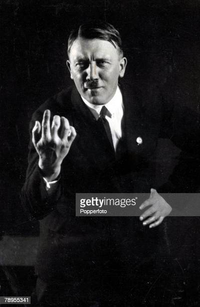 A portrait of German leader and Nazi dictator Adolf Hitler 1889 1945 gesturing with his hands while acting