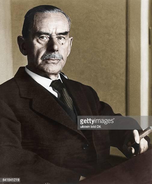 ' Portrait of German novelist and essayist Thomas Mann Colored version of Image number 17343