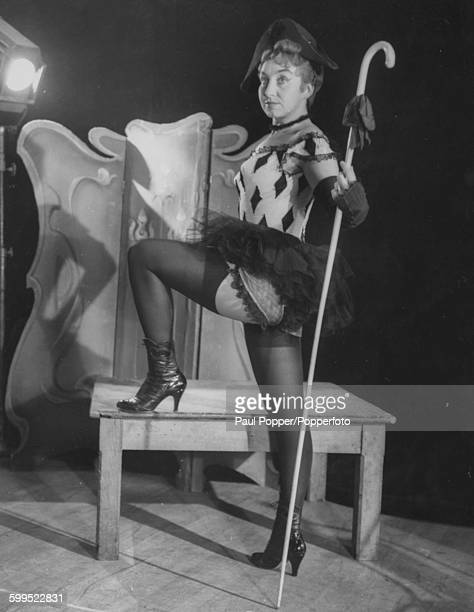 Portrait of German operatic soprano singer Helga Pilarczyk in costume in her role as 'Lulu' from the opera of the same name at the Sadler's Wells...