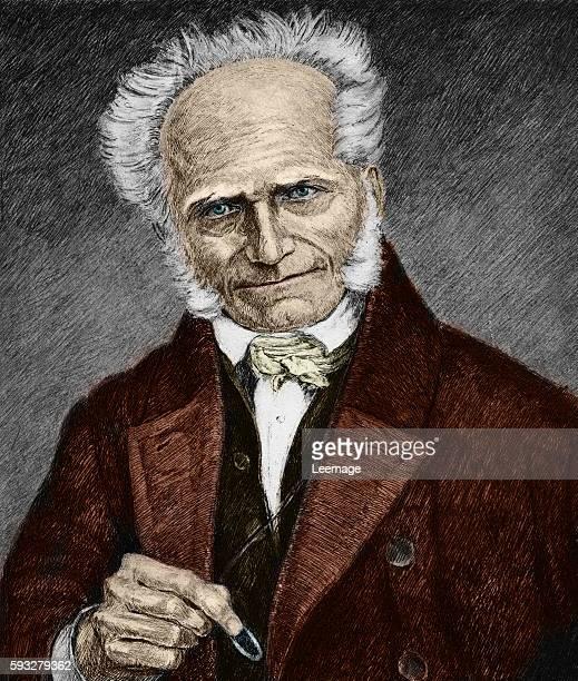 Portrait of german philosopher Arthur Schopenhauer Engraving 19th century Private collection