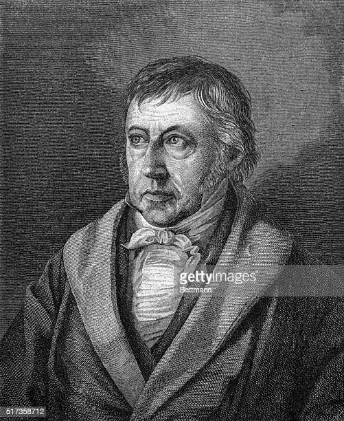 Portrait of German philosopher Georg Wilhelm Friedrich Hegel Head and shoulders illustration Undated