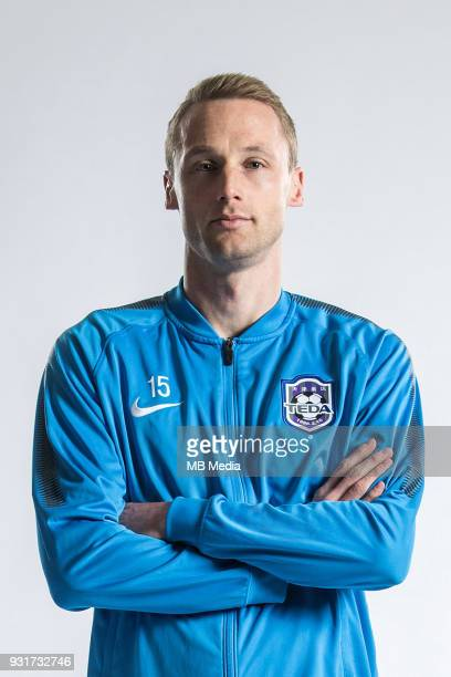 **EXCLUSIVE** Portrait of German soccer player Felix Bastians of Tianjin TEDA FC for the 2018 Chinese Football Association Super League in Tianjin...