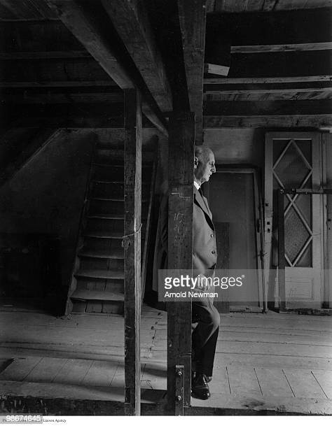 Portrait of Germanborn Dutch banker and merchant Otto Frank the father of diarist Anne Frank as he poses in the Anne Frank House Amsterdam...