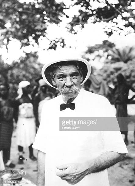 Portrait of Germanborn French medical missionary and theologian Dr Albert Schweitzer at his mission Lambarene Gabon May 1950