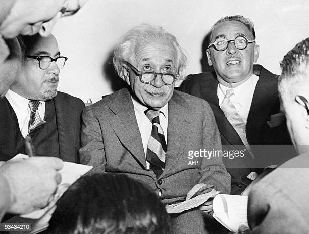 Portrait of Germanborn SwissUS physicist Albert Einstein author of theory of relativity awarded the Nobel Prize for Physics in 1921 celebrating his...