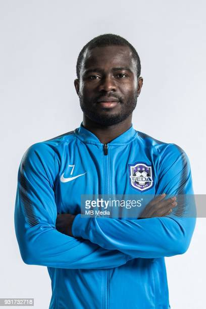 **EXCLUSIVE** Portrait of Ghanaian soccer player Frank Acheampong of Tianjin TEDA FC for the 2018 Chinese Football Association Super League in...