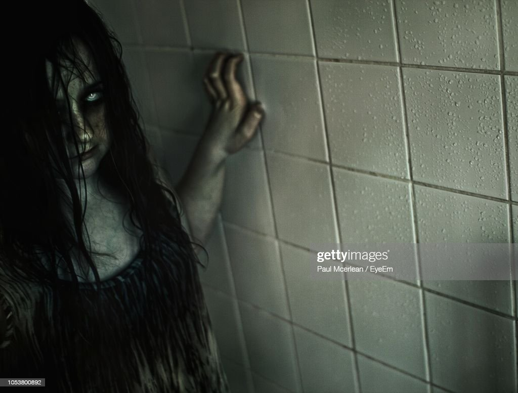 Portrait Of Ghost Standing In Bathroom High Res Stock Photo Getty Images