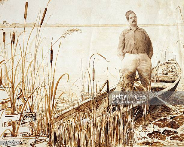 Portrait of Giacomo Puccini on a boat at Lucca, Italy, 1900. Indian ink sketch by Domenico Ghiselli . Lucca, Casa Di Giacomo Puccini