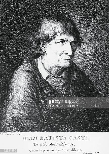 Portrait of Giovan Battista or Giambattista Casti Italian poet and writer Engraving by Francesco Rosaspina