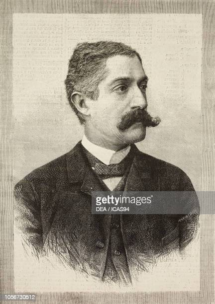 Portrait of Giovanni Verga Italian author engraving by E Mancastroppa from a photograph by Vianelli brothers from L'Illustrazione Italiana year 16 no...
