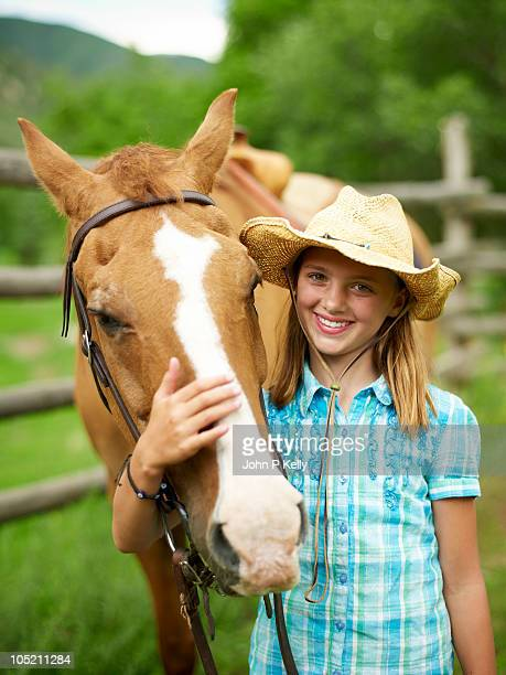 Portrait of girl and horse