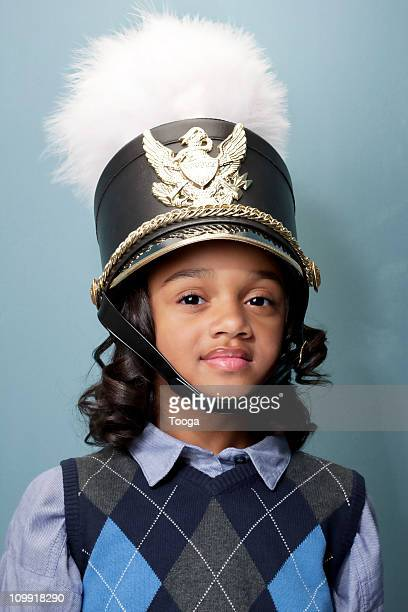 portrait of girl as band leader with hat - uniform cap stock pictures, royalty-free photos & images