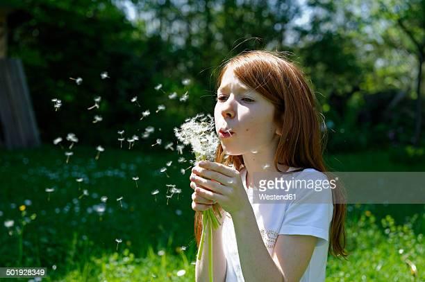 Portrait of girl blowing a blowball in garden