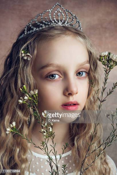 portrait of girl dressed like princess - medieval queen crown stock pictures, royalty-free photos & images