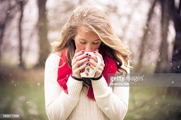 portrait of girl drinking coffee in the snow - cashmere stock pictures, royalty-free photos & images