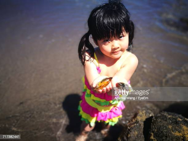 Portrait Of Girl Holding Shells On Shore At Beach