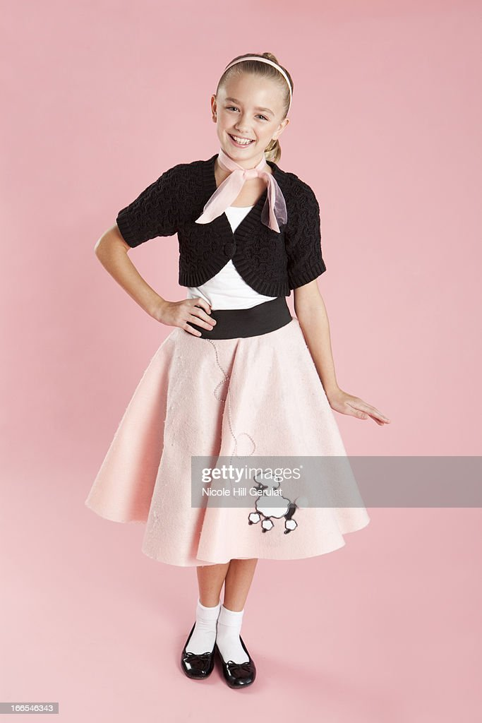 Portrait Of Girl 10 11 In 1950s Style Costume For Halloween