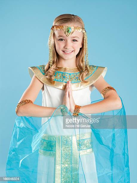 Portrait of girl (10-11) in Cleopatra costume for Halloween