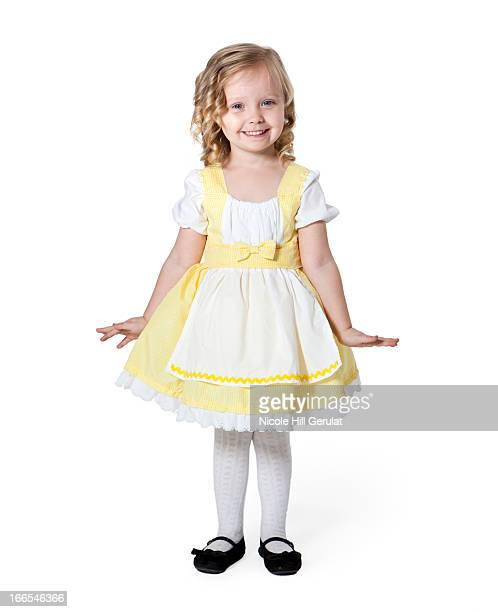 portrait of girl (2-3) in goldilocks costume for halloween - little bo peep stock photos and pictures