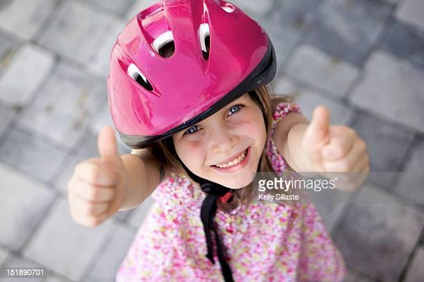 Portrait of girl in helmet