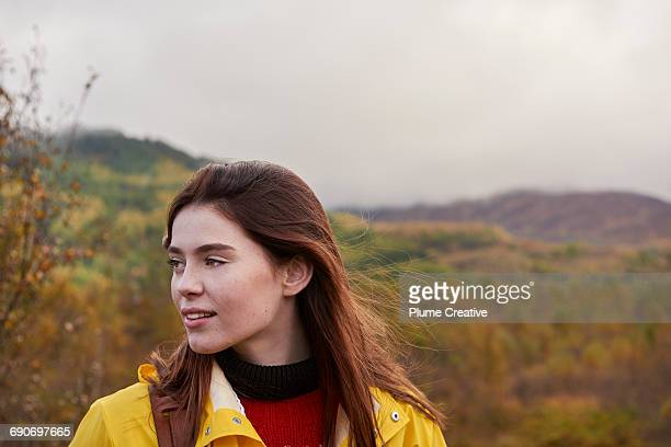 Portrait of girl in landscape