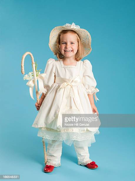 portrait of girl (2-3) in little bo peep costume for halloween - little bo peep stock photos and pictures
