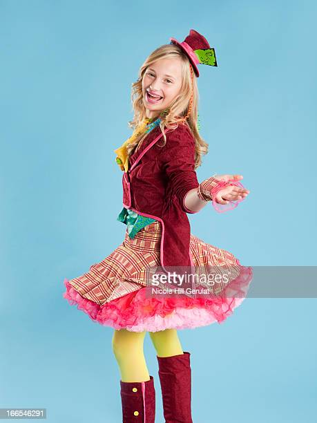 Portrait of girl (10-11) in Mad Hatter costume for Halloween