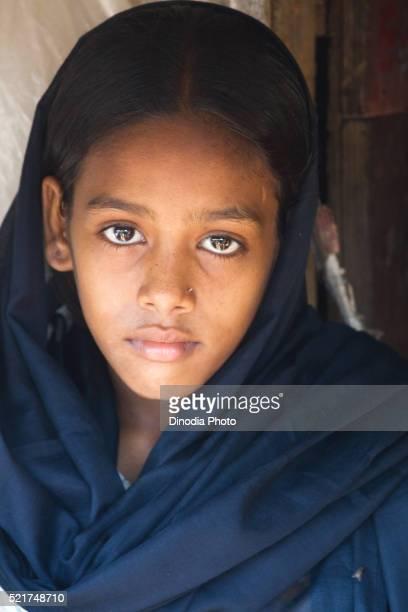 Portrait of girl in Malvani slum, Malad, Bombay Mumbai, Maharashtra, India