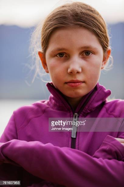 Portrait of girl in purple sweatshirt