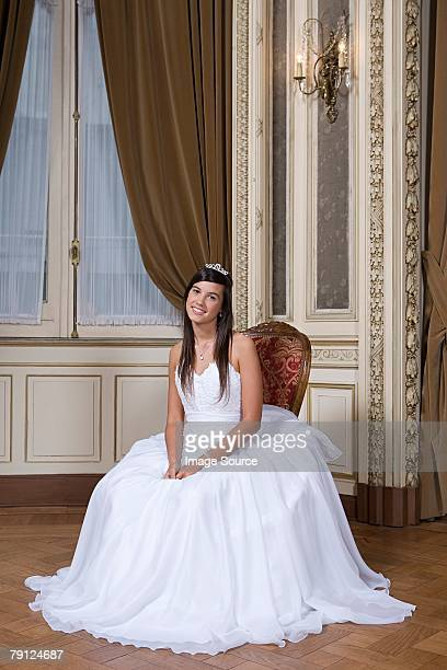 Portrait of girl in quinceanera dress